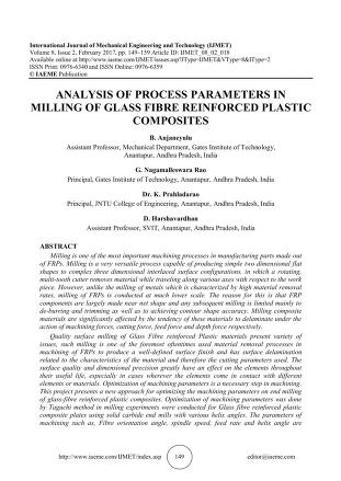 ANALYSIS OF PROCESS PARAMETERS IN MILLING OF GLASS FIBRE ...