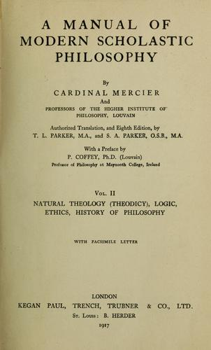 A manual of modern scholastic philosophy by Mercier, Desiŕe Cardinal