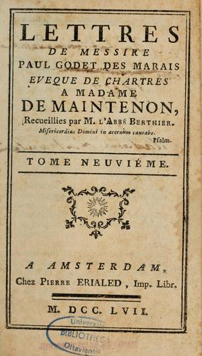 Lettres de madame de Maintenon by Maintenon Madame de